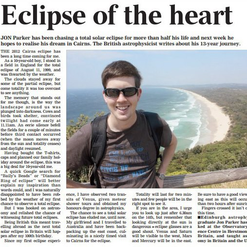 My article in The Cairns Sun newspaper, Nov 2012