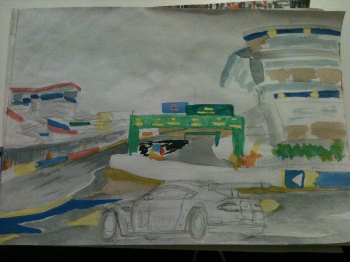 Aston at Le Mans waterclour - half finished...