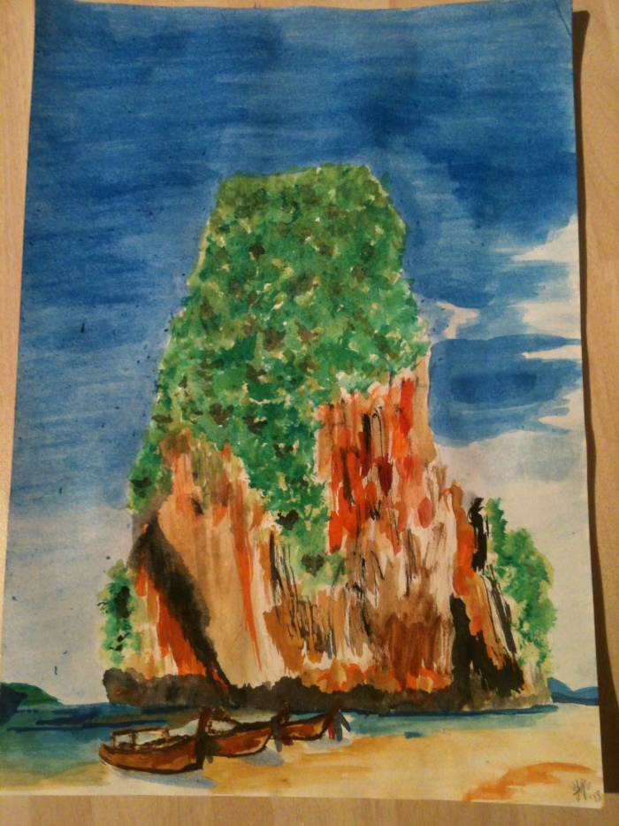 Railay Beach, Krabi, Thailand in watercolours