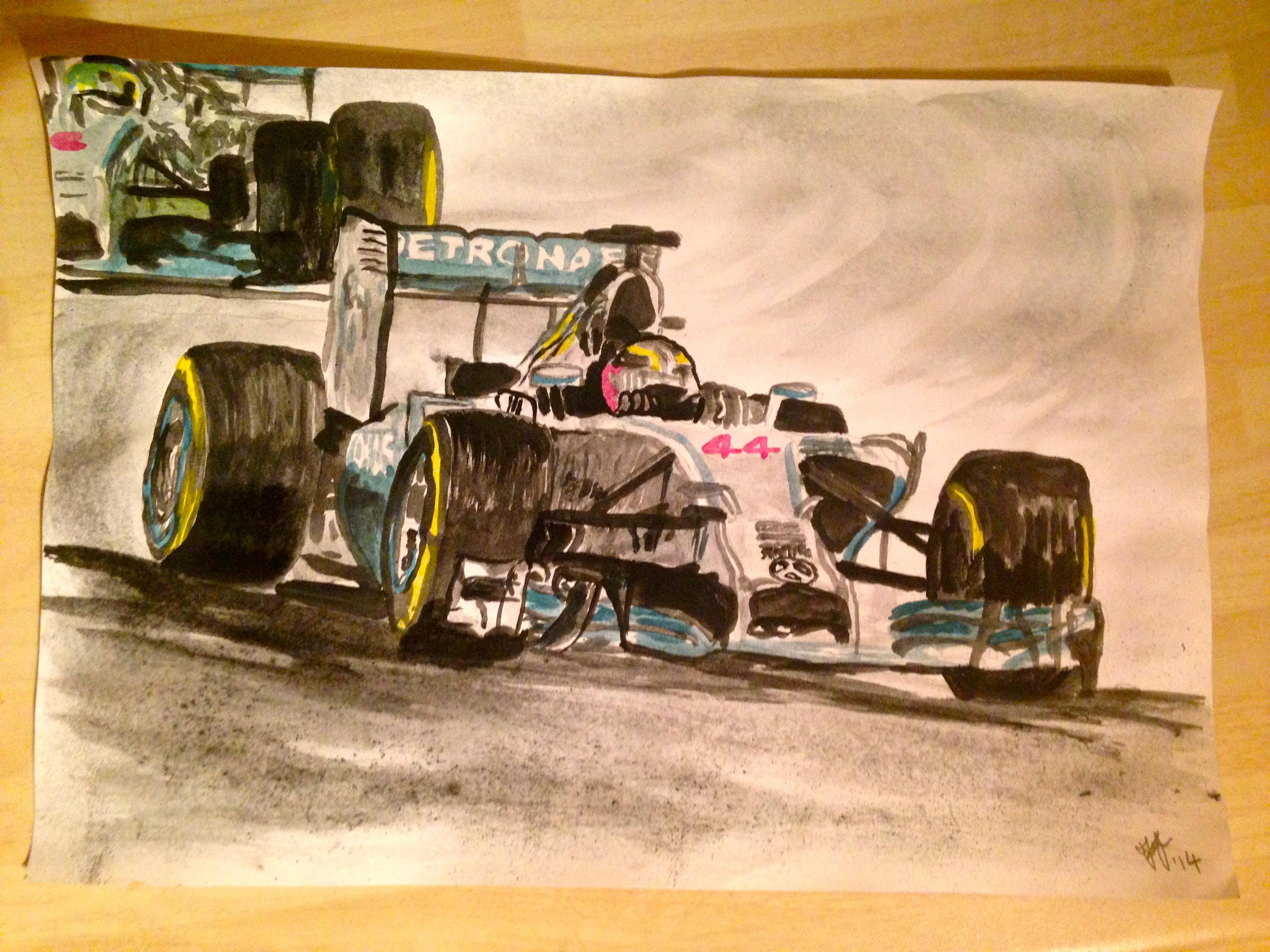 Lewis Hamilton Painting Lewis Hamilton Mercedes f1