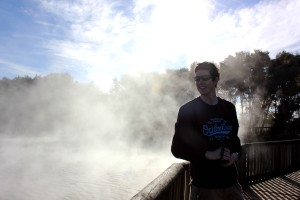 Standing by the lake in Rotorua