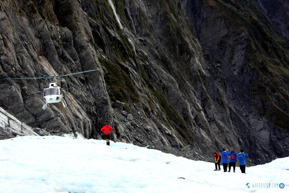Heli-hiking across an Ice Glacier in Franz Josef
