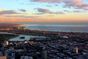 Albert Park in Melbourne as seen from the top of the Eureka Skydeck, 88 storeys up