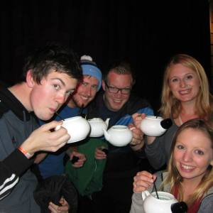 Drinking out of teapots!