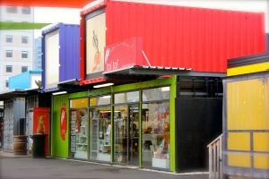 Shipping containers come high street stores