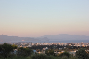 Distractingly beautiful: the view across to Turkey