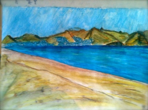 My watercolour, painted on the beach