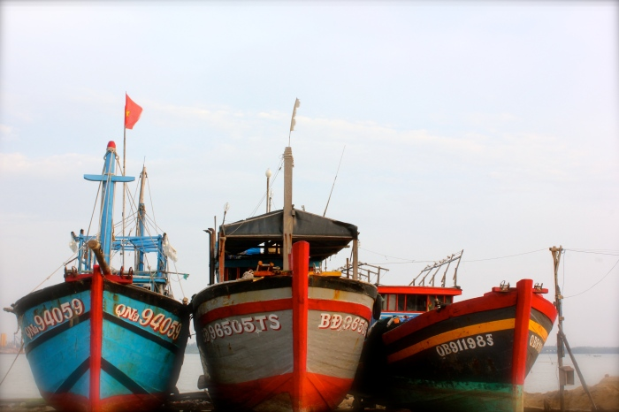 The colourful boats on our photography tour