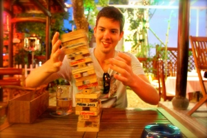 Playing jenga at Le's Gardens