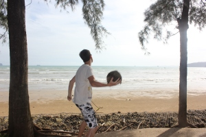 Chuckin'c coconuts in Krabi... as you do