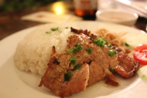 Typical Asian Pork and Rice dinner