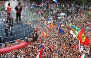 The famous Monza podium and swarms of tifosi