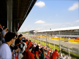Looking down the main straight from our grandstand