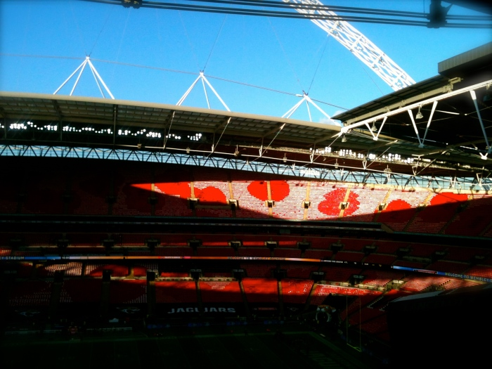 The seats at Wembley where transformed into poppies for the second NFL game I attended