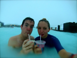 Enjoying smoothies in the lagoon