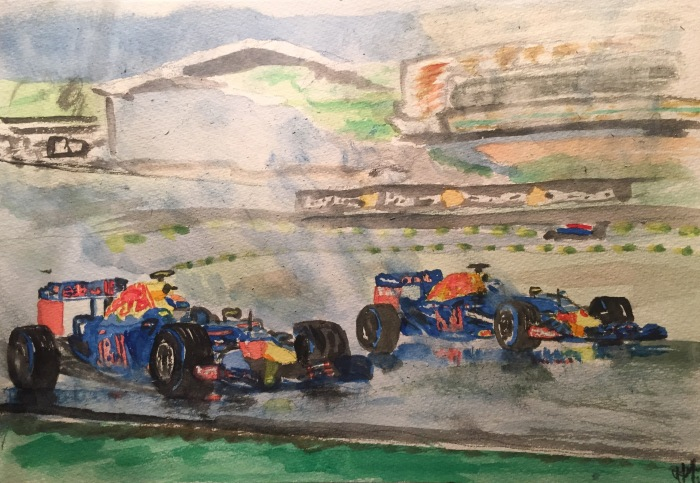 Max Verstappen overtakes team mate Daniel Ricciardo in the wet at Interlagos, São Paulo; watercolours.