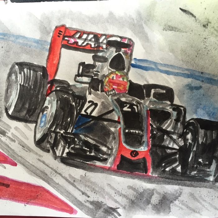 Haas F1, watercolours, March 2016